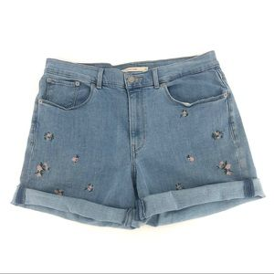 Levi's High Rise Classic Jean Shorts Floral Rose